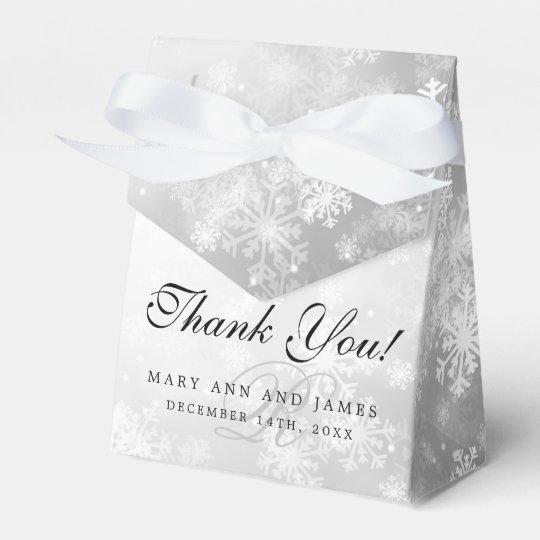 Elegant Wedding Monogram Silver Winter Wonderland Favour Box