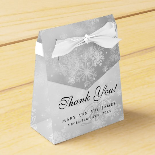 Elegant Wedding Monogram Silver Winter Wonderland Wedding Favour Box