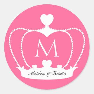 Elegant Wedding Pink Monogram Crown Sticker