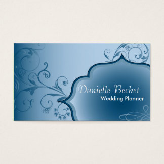 Elegant Wedding Planner Business Card Blue Swirls