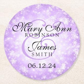 Elegant Wedding Purple Winter Wonderland Round Paper Coaster