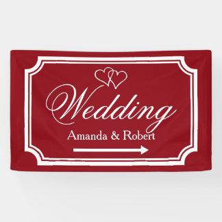 Elegant wedding reception direction sign banner