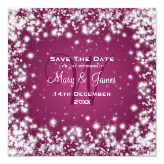 Elegant Wedding Save The Date Winter Sparkle Pink Card
