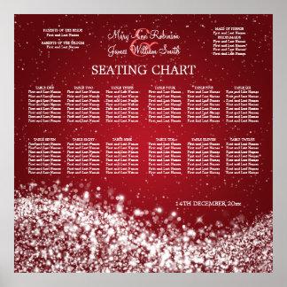 Elegant Wedding Seating Chart Sparkling Wave Red Poster