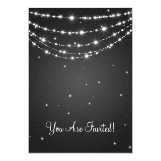 Elegant Wedding Sparkling Chain Black Card