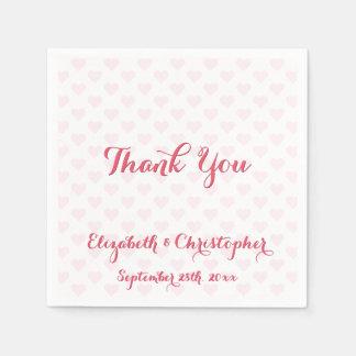 Elegant Wedding Thank You Pink Hearts Paper Napkin