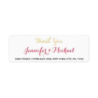 Elegant Wedding Thank You Return Address Label