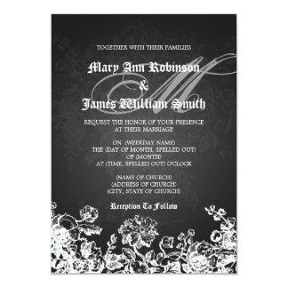 Elegant Wedding Victorian Flourish Black 13 Cm X 18 Cm Invitation Card