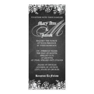 Elegant Wedding Victorian Flourish Black 10 Cm X 24 Cm Invitation Card