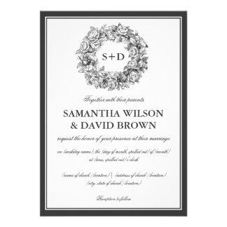 Elegant Wedding Vintage Floral Monogram Black Custom Invite