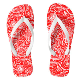 Elegant White And Red Floral Paisley Pattern Thongs