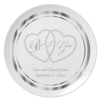 Elegant White and Silver Wedding Keepsake Dinner Plates