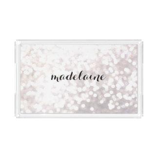Elegant White Bokeh Personalised Acrylic Tray