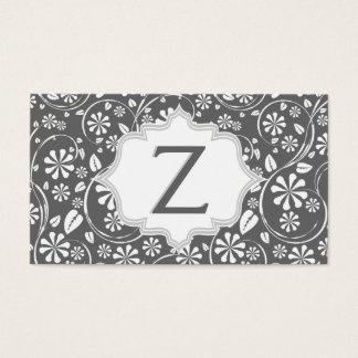 Elegant white, grey floral pattern monogram