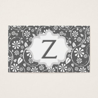 Elegant white, grey floral pattern monogram business card