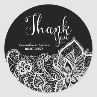 Elegant white lace custom wedding Thank you Round Sticker