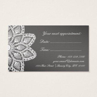 Elegant White Lace Hair & Beauty Salon Appointment Business Card