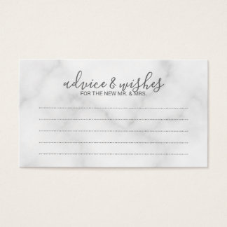 Elegant White Marble Wedding Advice and Wishes Business Card
