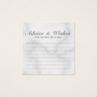 Elegant White Marble Wedding Advice and Wishes Square Business Card