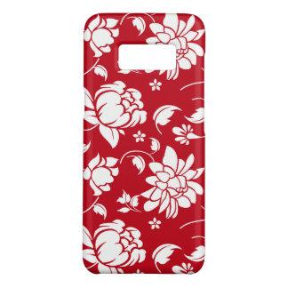 Elegant White On Red Floral Damasks Pattern Case-Mate Samsung Galaxy S8 Case
