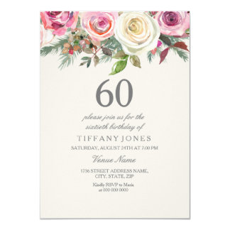 Elegant White Rose Floral 60th Birthday Invite