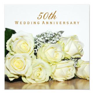 Elegant White Roses 50th Wedding Anniversary Party 13 Cm X 13 Cm Square Invitation Card