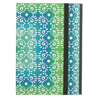 Elegant White Swirls On Green Cover For iPad Air