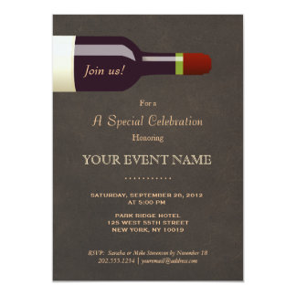 Elegant Wine Bottle Leather Look Formal 13 Cm X 18 Cm Invitation Card