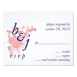 Elegant Winter Wedding RSVP Cards Pink Blue