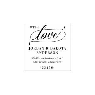 Elegant With Love Script   Wedding Return Address Rubber Stamp