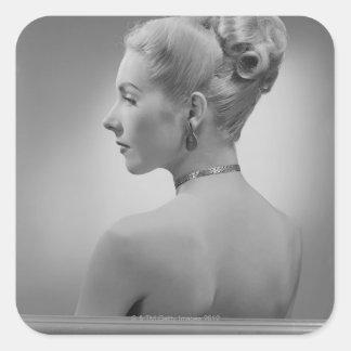 Elegant Woman Square Sticker