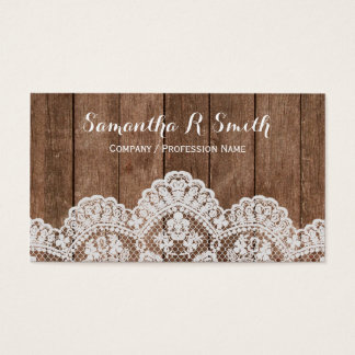 Elegant Wood and Lace Business Card