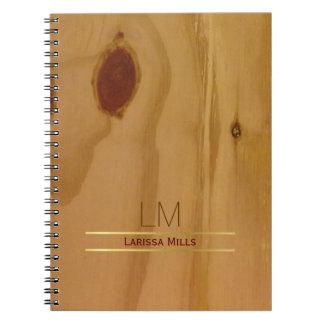 elegant wood texture, rustic & personalised notebook