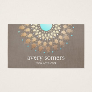 Elegant Yoga Gold Lotus Mandala Taupe Linen Business Card