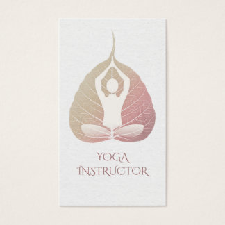 Elegant Yoga Meditation Posture with Bodhi Leaf Business Card