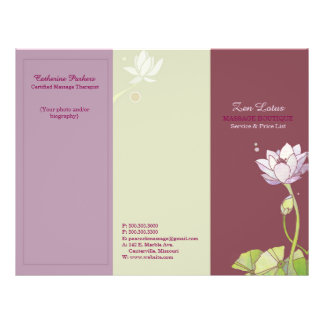 Elegant Zen Lotus Tri Fold Business Brochures 21.5 Cm X 28 Cm Flyer