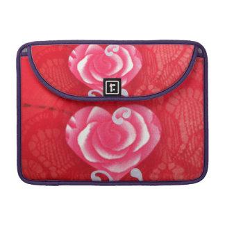 """Elegante Pink heart on red Macbook Pro 13"""" sleeve Sleeves For MacBooks"""