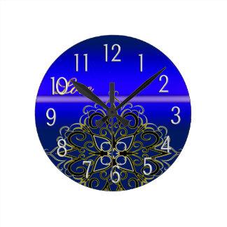 Eleganted Blue Love Damask Multi Products seleted Round Clock
