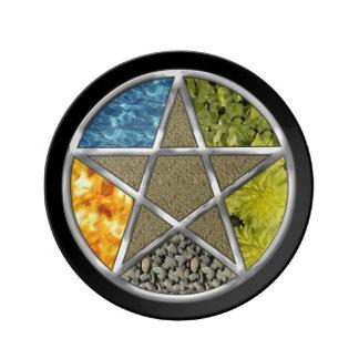 Elemental Pagan Pentagram Pentacle Wiccan Plate Porcelain Plate