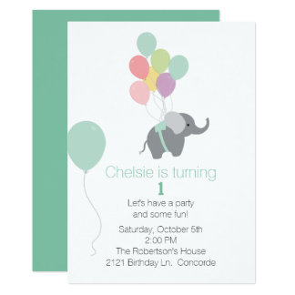 Elephant and Balloons First Birthday Invitation