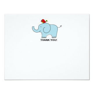 Elephant and Bird Thank You Notecards Personalized Invite
