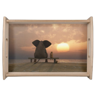 Elephant and Dog Friends Serving Tray