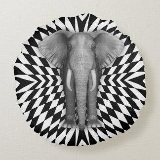 Elephant And Optical Pattern Design, Zany Pattern Round Cushion