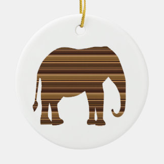 ELEPHANT animal wild pet Gold Stripe Brown NVN286 Christmas Ornament