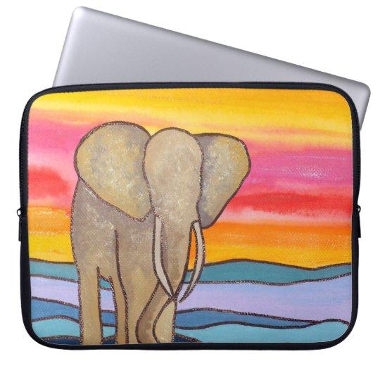 Elephant at Sunset in Africa (K.Turnbull Art) Laptop Sleeve