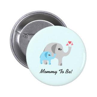 Elephant Baby Shower Blue 6 Cm Round Badge