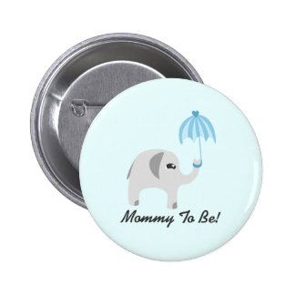 Elephant Baby Shower Blue Umbrella 6 Cm Round Badge