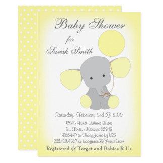 Elephant Baby Shower Invitation Yellow Grey
