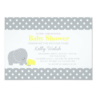 Elephant Baby Shower Invitations Yellow and Gray