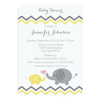 Elephant Baby Shower Invite | Yellow Grey Chevron